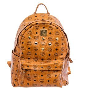 MCM Cognac Visetos Coated Canvas Stark Backpack
